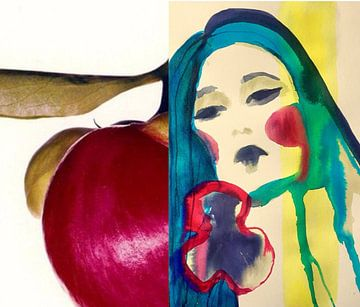 Flora Collage Kersen van Helia Tayebi Art