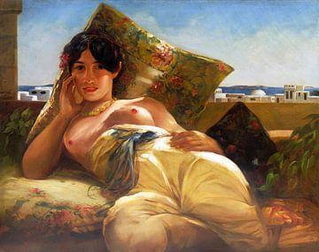 Topless  Frau mit Blick auf Algier liegend dargestellt, Georges Antoine Rochegrosse - 1935 von Atelier Liesjes