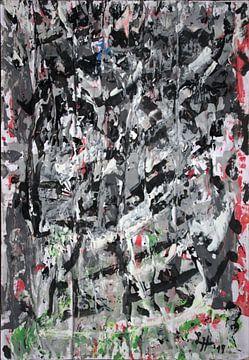 Zwart en wit kluwen met subtiele spatten van kleur van elha-Art