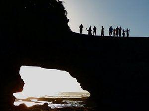 De avond valt op Bali. van