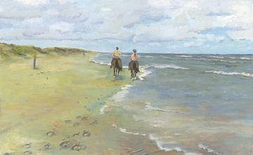 Equitation sur la plage sur Yvon Schoorl