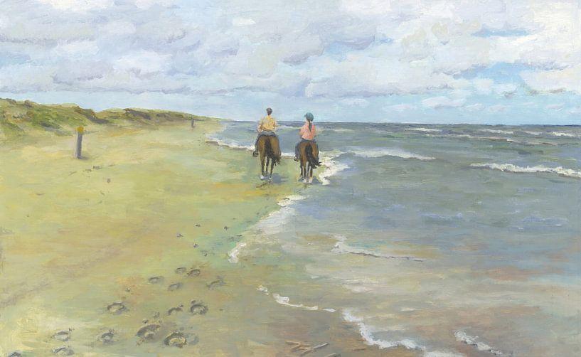 Paardrijden op strand van Yvon Schoorl