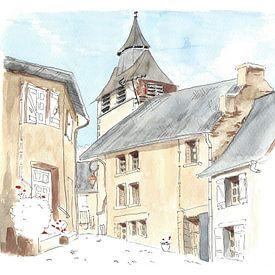 Illustratie van klein Frans dorpje van Ivonne Wierink