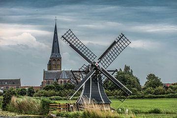 Vue du petit moulin à vent de Workum en Frise sur Harrie Muis