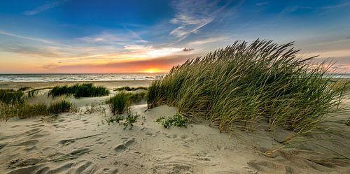 paal 15 - strand Texel - Duin zonsondergang van
