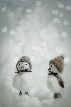 Kuikens in de sneeuw , ideetje voor een kinderkamer. van Rik Verslype