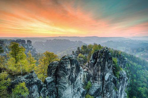 Bastei in Saxon Switzerland van Michael Valjak