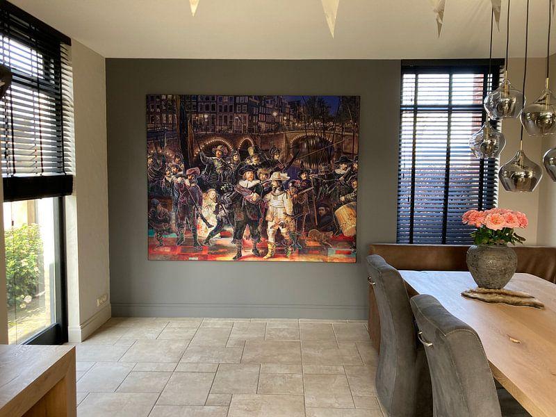 Kundenfoto: Die Nachtwache von Rembrandt in einer modernen und fröhlichen Jacke. von Dennisart Fotografie