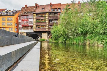 Krämerbrücke und  Fluss Gera in Erfurt von Gunter Kirsch