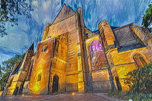 Digitaal schilderij Grote Sint-Laurenskerk Alkmaar