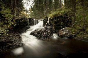 Kleine waterval in de Noorse bossen van Geke Woudstra