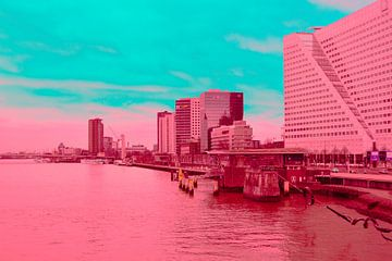 Rotterdam - Erasmusbrug en omgeving - in rood - groene tinten van Ineke Duijzer