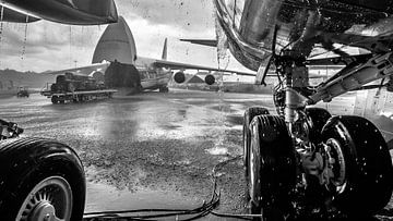 Regen op de luchthaven