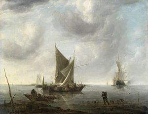 Des navires à l'ancre sur une mer calme, Jan van de Cappelle