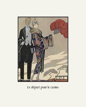 Le départ pour le casino - Historische mode prent, art deco advertentie, vintage, retro van NOONY