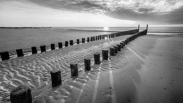 Wellenbrecher am Strand von Domburg