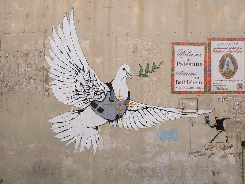 Vredesduif in kogelvrij vest door Banksy van Teun Janssen