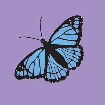 Papillon bleu sur Bianca Wisseloo