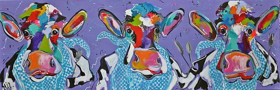 - Drie Koeien die smullen van Kunstenares Mir Mirthe Kolkman van der Klip