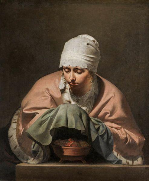 Een jonge vrouw warmt haar handen boven een vuurtest, Caesar Boëtius van Everdingen van Schilders Gilde