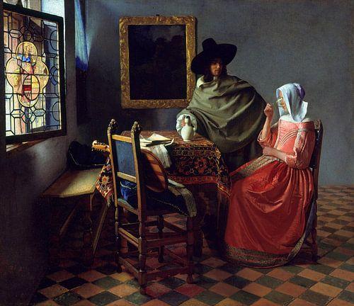 Johannes Vermeer. Het glas wijn