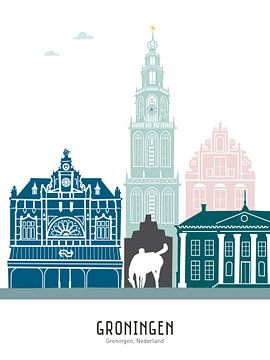 Skyline illustratie stad Groningen in kleur van Mevrouw Emmer
