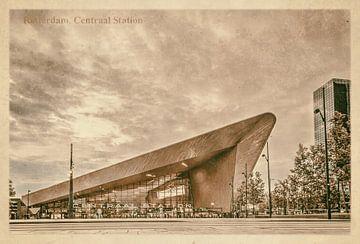 Carte postale d'époque: gare centrale à Rotterdam sur Frans Blok