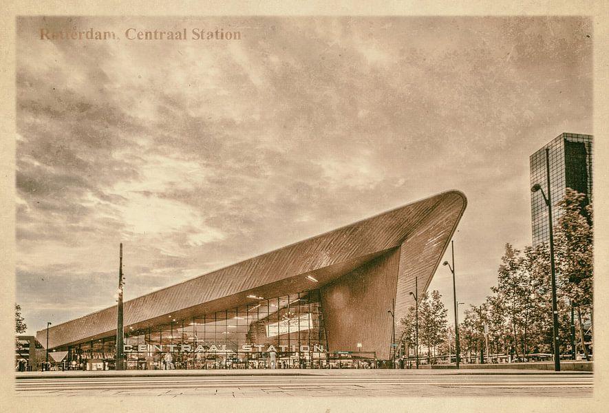 Carte postale d'époque: gare centrale à Rotterdam