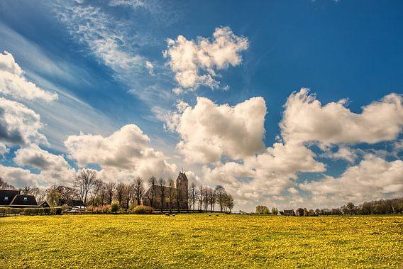Een veld vol paardebloemen en het kerkje van Jelsum, Friesland. van Harrie Muis