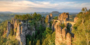 Bastei in Saksisch Zwitserland Panorama van Michael Valjak