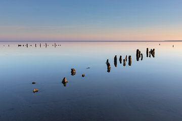 Posten im Wattenmeer bei Ebbe - Natürliches Wattenmeer von Anja Brouwer Fotografie