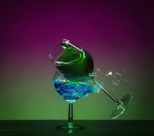 Shattered Glass - Impact Groen en Blauw van Alex Hiemstra