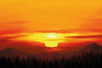 Zon achter bergen