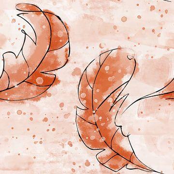 Oranje gekleurde blaadjes in aquarel stijl van Emiel de Lange