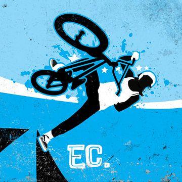 Vrouw op BMX in de halpipe. van Jaap Tinholt