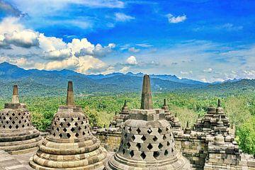 Stupas und Dagobas am Borobudur von Eduard Lamping