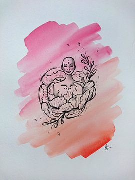 ZEN l - Aquarell x Zeichnung von Claudia Maglio