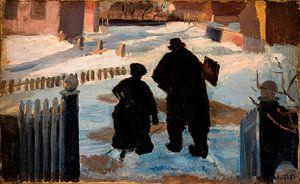 Michael Ancher auf dem Weg zu seinem Atelier in Begleitung der Organistin Helene Christensen, Anna A