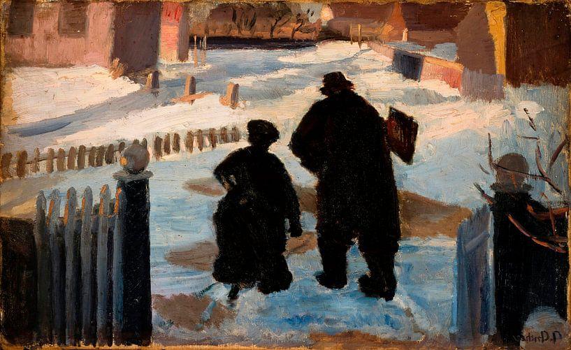 Michael Ancher auf dem Weg zu seinem Atelier in Begleitung der Organistin Helene Christensen, Anna A von Meesterlijcke Meesters