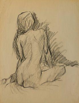 Weiblicher Akt, Aktstudie 2, Kohlezeichnung von Paul Nieuwendijk