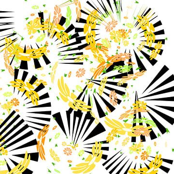Wirbelnde Blüten mit Fächer von Rosi Lorz
