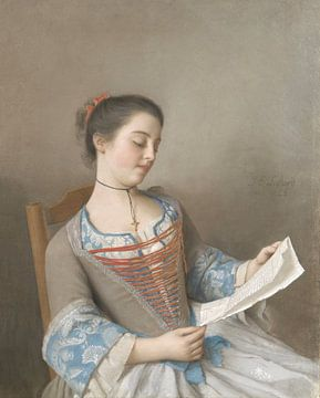 Marianne Lavergne, nicht van de kunstenaar, bekent als 'La Liseuse', Jean-Etienne Liotard van Meesterlijcke Meesters