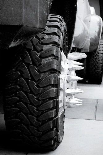 Close-up foto van een spiked wheel. van Nannie van der Wal