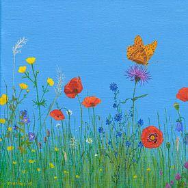Bloemenwei met vlinder, acryl schilderij van Marlies Huijzer van Martin Stevens