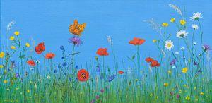 Bloemenwei met vlinder, acryl schilderij van Marlies Huijzer van