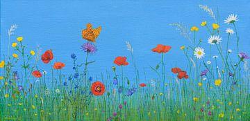 Blumenwiese mit Schmetterling, Acrylbild von Marlies Huijzer von