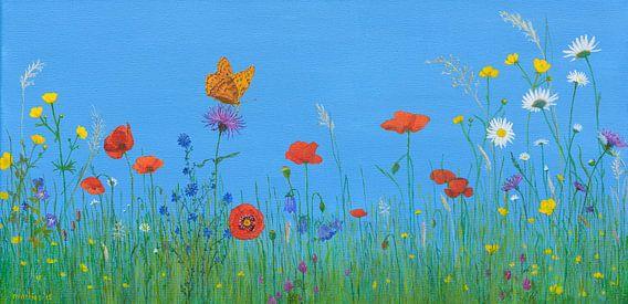 Bloemenwei met vlinder, acryl schilderij van Marlies Huijzer
