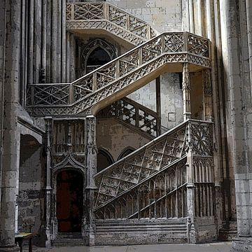 Treppe in der Kathedrale von Rouen, Frankreich (digital bearbeitet) von Koolspix