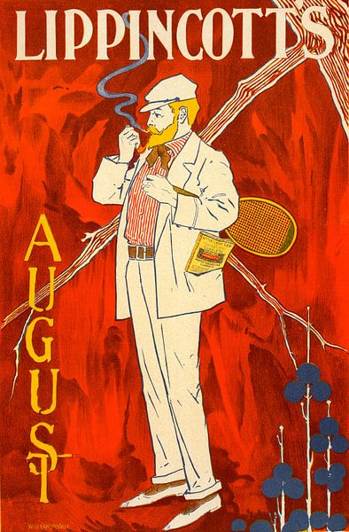 Vintage poster for le Revue Lippincott's Magazine August, William L. Carqueville or Will Carqueville van Liszt Collection