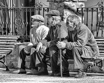 Ältere Menschen auf einer Bank von Stefan Peys